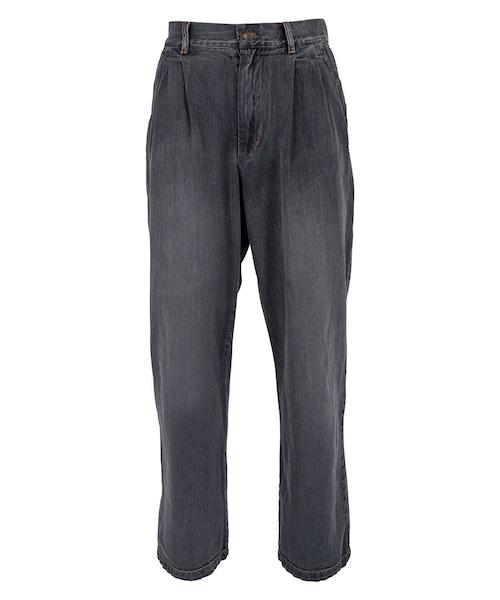 VINTAGE WASHED DENIM WIDE PANTS[REP152]