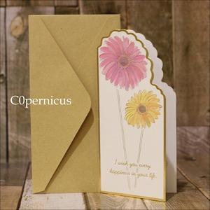 封筒付メッセージカード 0315-6(ガーベラ)浜松雑貨屋 C0pernicus  便箋・封筒レターセット