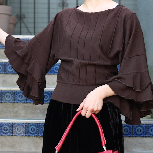 .VALENTINO WOOL FRILLED KNIT MADE IN ITALY/ヴァレンチノローマウールフリルニット2000000054629