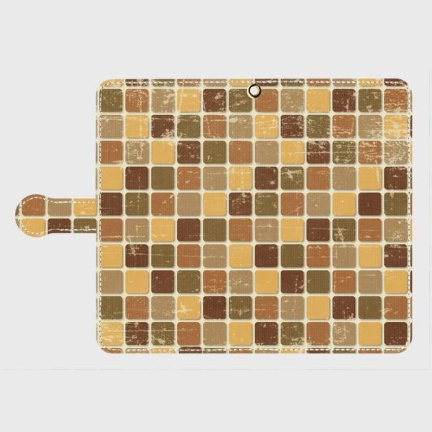 モザイクタイル(茶)/ Androidスマホケース(手帳型ケース)