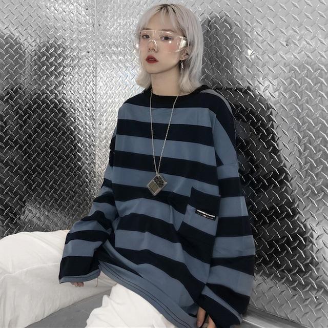 【トップス】カジュアル韓国系長袖ストライプ柄Tシャツ42895828