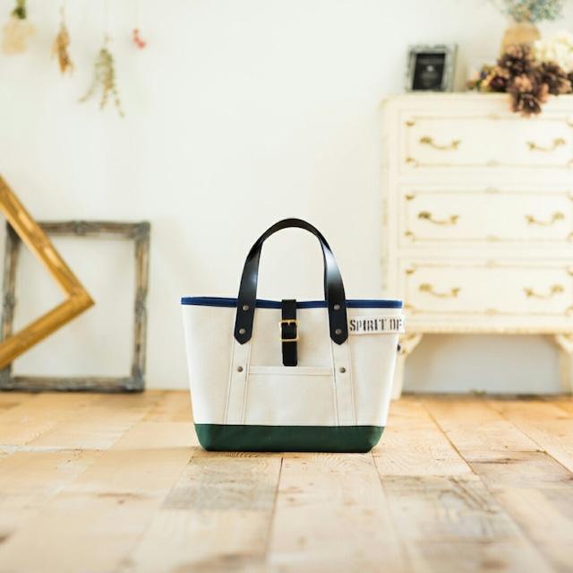 キナリ×レザーハンドル トートバッグ(ブルー&グリーン) Sサイズ