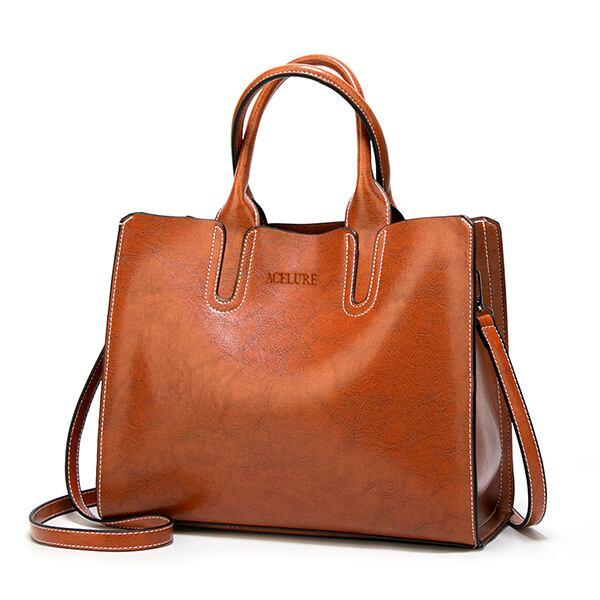 レディース PUレザーショルダーバッグ 毎日のショッピングに最適 トートバッグ ハンドバッグ White brown