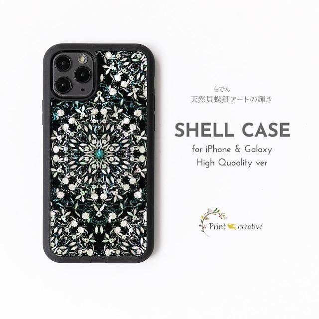 【iPhone12/Galaxy対応】天然貝ハイクオリティシェルスマホケース★天然貝×フレキシガラス(フラワーファンタジー・ブラック)螺鈿アート iPhone11pro iPhoneSE 第二世代 GalaxyS20