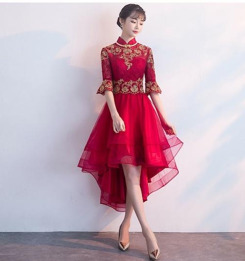 チャイナ風フィッシュテールドレス ショート丈 刺繡 ラッパ袖 二次会 パーティー お呼ばれ wb047