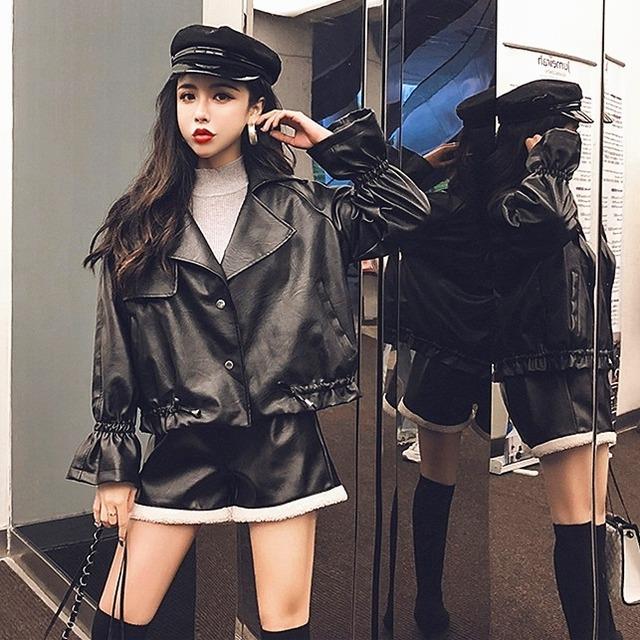【アウター】ファッション長袖PUジッパージャケット25968871