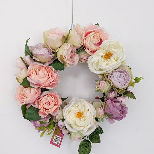 アートフラワーギフト!『フラワーリース』お花たっぷり・パープルピンク
