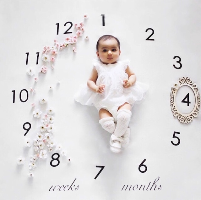 商品番号506 ベビーフォトアートブランケット 時計型