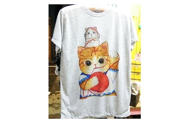 猫とネズミTシャツ(グレー)
