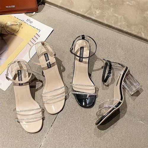 サンダル クリアヒール クリアストラップ ヒール7cm 韓国ファッション レディース サンダル クリア キュート 痛くない かわいい 歩きやすい 595303391289