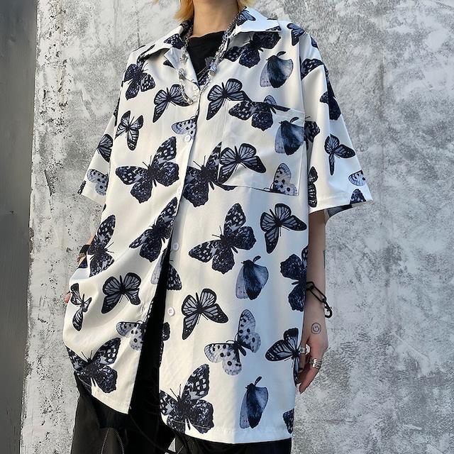 ユニセックス バタフライ シャツ 蝶々 半袖 オーバーサイズ 韓国ファッション メンズ レディース 柄シャツ トップス ゆったり カジュアル ストリート ファッション TBN-618867542320
