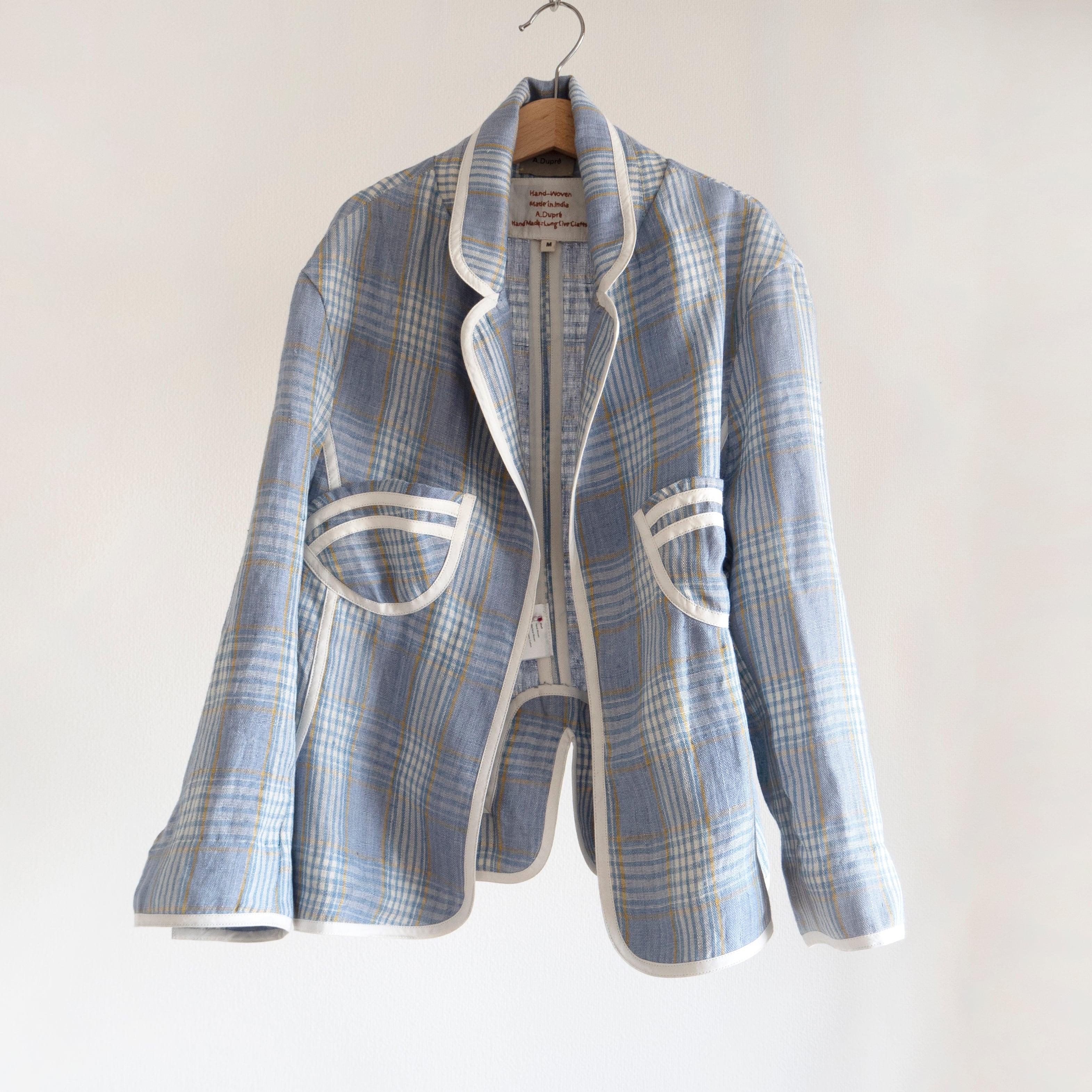 "Waist Shape Jacket ""blue & yellow check"""