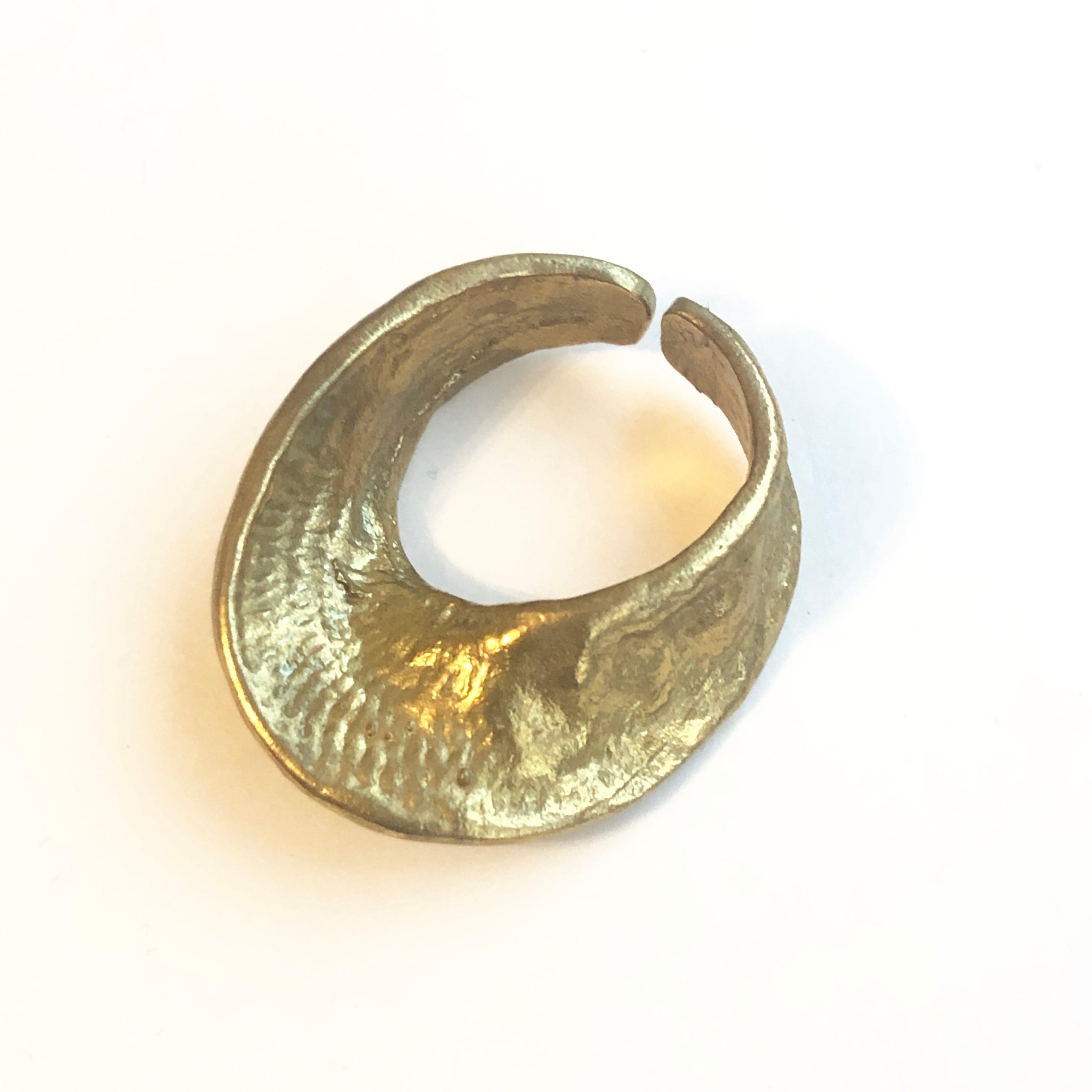 Raw brass Rings -  twist discリング RG-029
