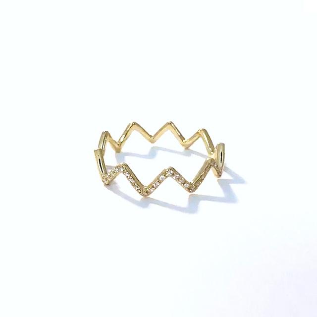 Diamonds on Zig-Zag Ring / K18YG (#5〜#16)