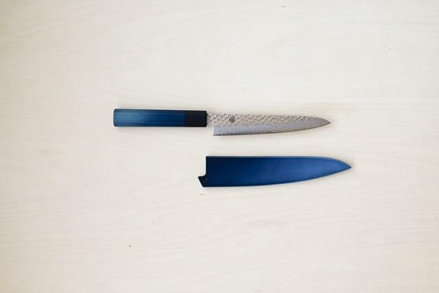 用と美を兼ね備えた1柄|藍包丁「ペティナイフ_ダマスカス」鞘付き