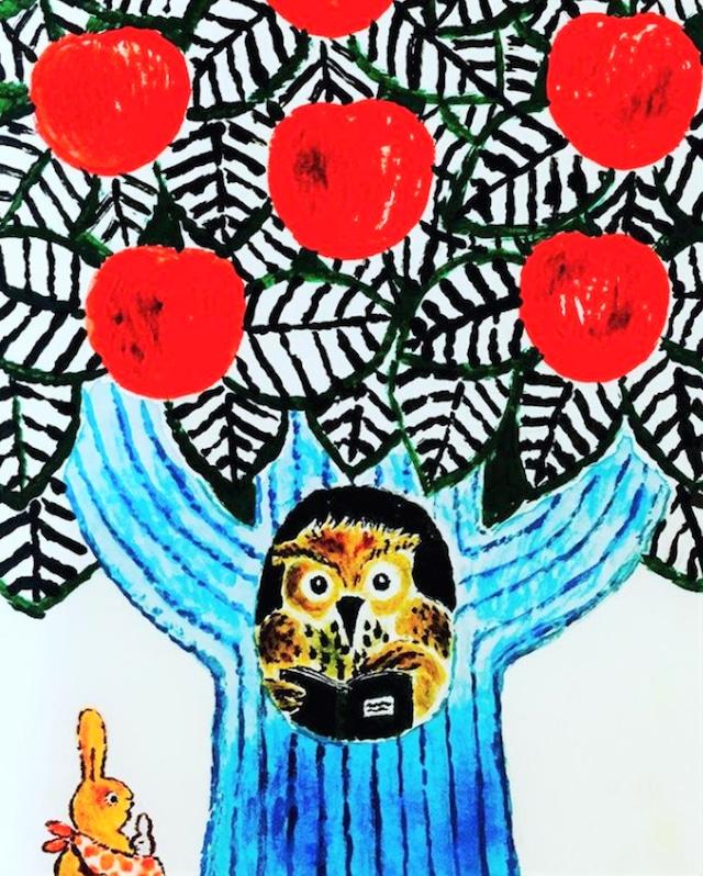 リンゴの木のフクロウさん家(額付き)