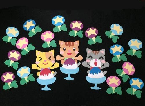 【夏の壁面装飾】かき氷で頭キンキンのネコ