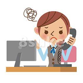 イラスト素材:困った表情で電話対応をするOL・事務職の女性(ベクター・JPG)