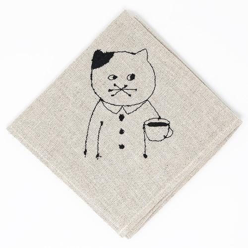 猫お弁当包み(リネンの刺繍)こめ