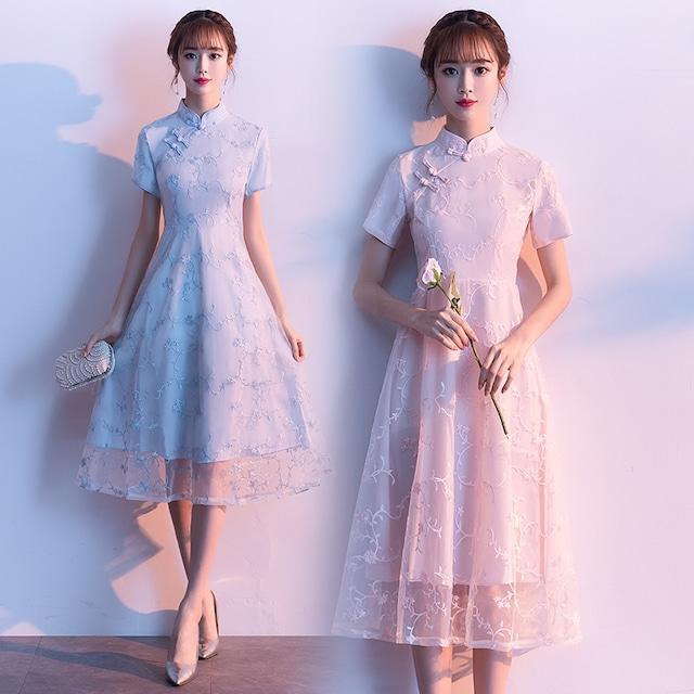 ショートチャイナドレス 大きいサイズ 刺繍チャイナドレス チャイナ風 パーティードレス 半袖 二次会 入園式 卒業式 女子会 ブルー ライトピンク S M L XL 2XL 3XL 4XL 5XL