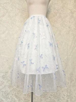 ロングスカートフレアホワイトチュール オーロラ蝶々