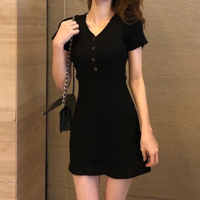 セクシーニットドレス ソリッドカラー 夏向け半袖 Vネックドレス