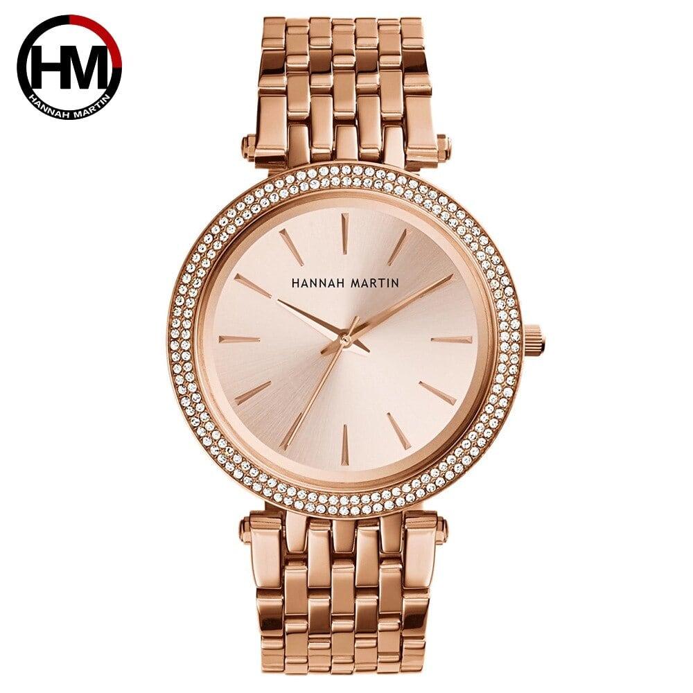 女性トップブランドの高級クォーツムーブメント時計ファッションビジネスステンレススチールダイヤモンドダイヤル防水レディース腕時計1185-F