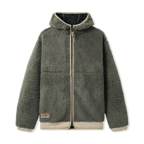 BUTTER GOODS 【Sherpa Zip Thru Jacket, Pine / Khaki】
