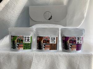 すみれ茶3点セット【抹茶・ほうじ茶・和紅茶】ORGANIC TEA サイズ小