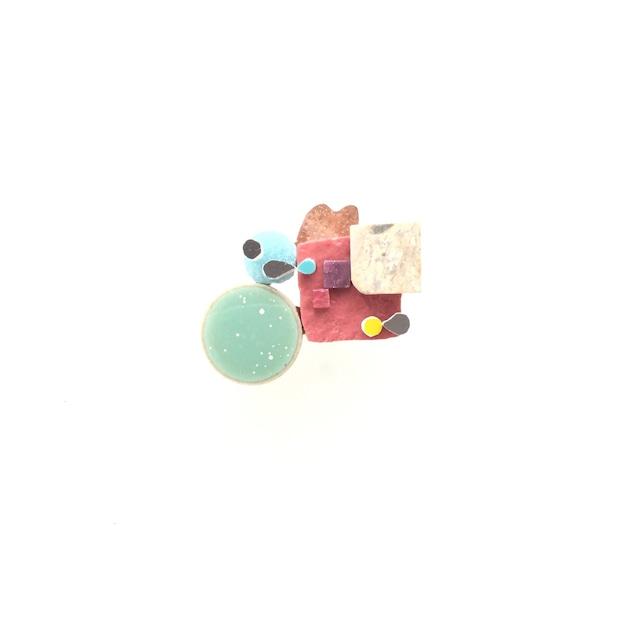 モザイクと銅と大理石のmixブローチ(流氷)