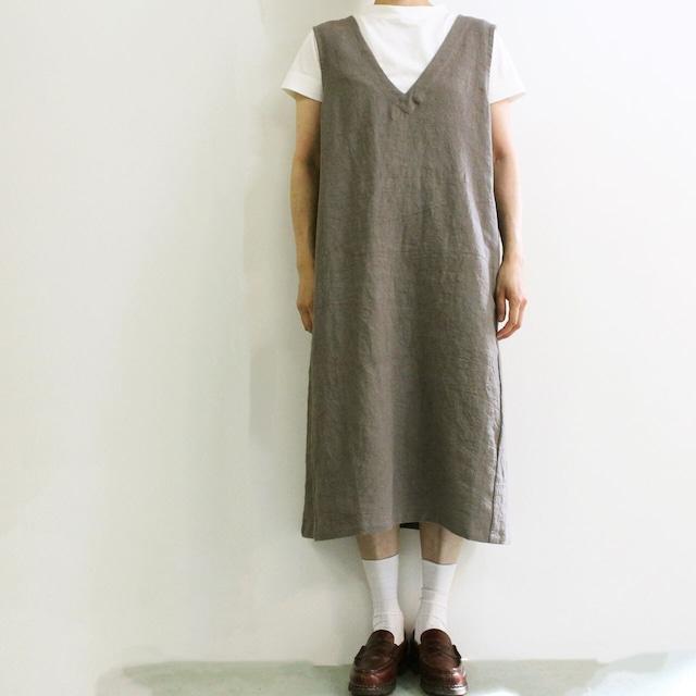 YARRA (ヤラ) YR-204-025 ラミーリネンVネックジャンスカ 麻素材のジャンパースカート