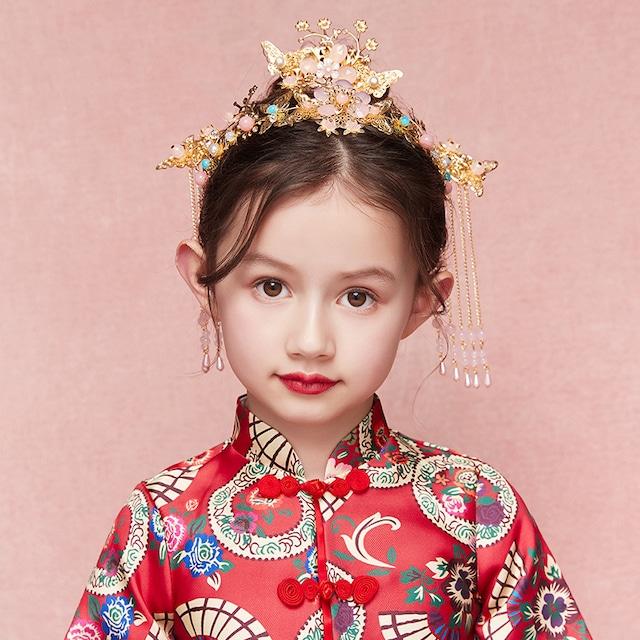 子ども用王冠 ヘッドアクセサリー女の子髪飾り ヘアアクセサリー キッズ 結婚式 花童 ウェディング 演奏会 演出 誕生日 プレゼント ビーズ ピンク フリンジ