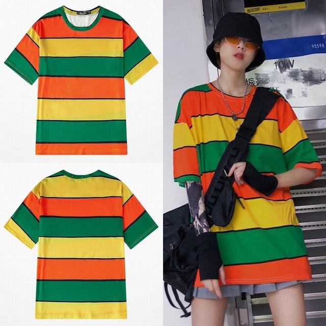 ユニセックス 半袖 Tシャツ メンズ レディース マルチカラー オーバーサイズ 大きいサイズ ルーズ ストリート TBN-613701034955