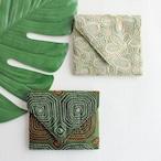 カッチ刺繍 ミニポーチ グリーン 【フェアトレード商品】【アップサイクル商品】
