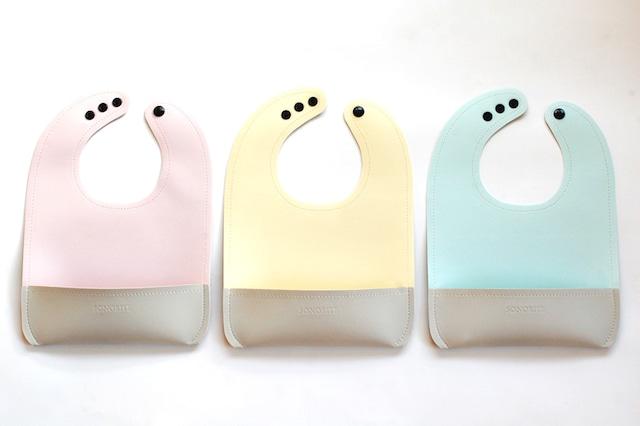 NEW! 水で洗えるレザー調のビブ/スタイ 前掛け ウォータープルーフ 全3色