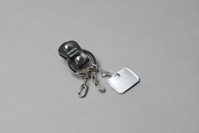 KEY RING・CAP ■ブラックS・マットシルバー■_本革真鍮キーリング・キーキャップセット_ - メイン画像