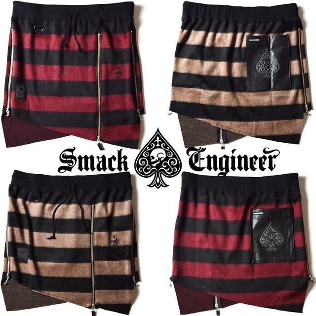 SMACK ENGINEER / スマックエンジニア「SHAGGY BORDER SKIRTS」男女兼用スカート スカーツ 巻きスカート ウエストゴム スカル ドクロ スペード 黒 赤 ブラック レッド ベージュ メンズ レディース ROCK PUNK ロック パンク ギフトラッピング無料 ステージ衣装 Rogia