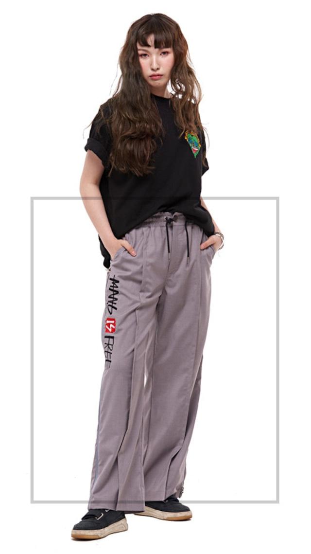 【MANG】英字刺繍メッシュサイドジップスラックスパンツ