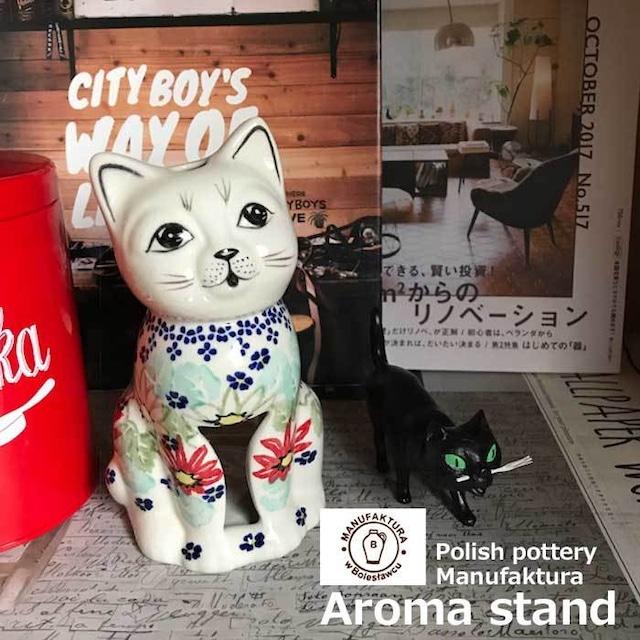 北欧 ポーランド陶器 アロマポット おすわり猫 おしゃれ