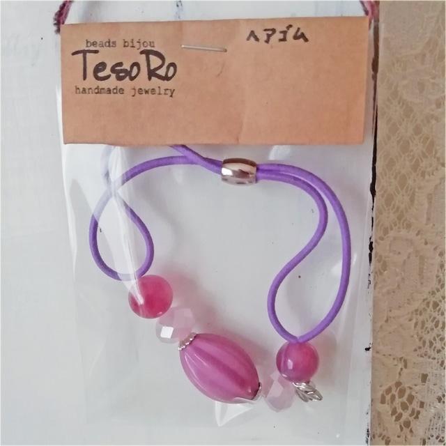 TesoRo:ヘアゴム紫  葉(小さなチャーム)紫ピンク 手首に付けても可愛い♪