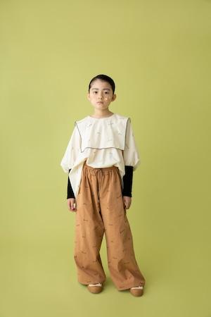 【21AW】folkmade(フォークメイド)  embroidery rogo sailor シャツ palebeige×black(L)