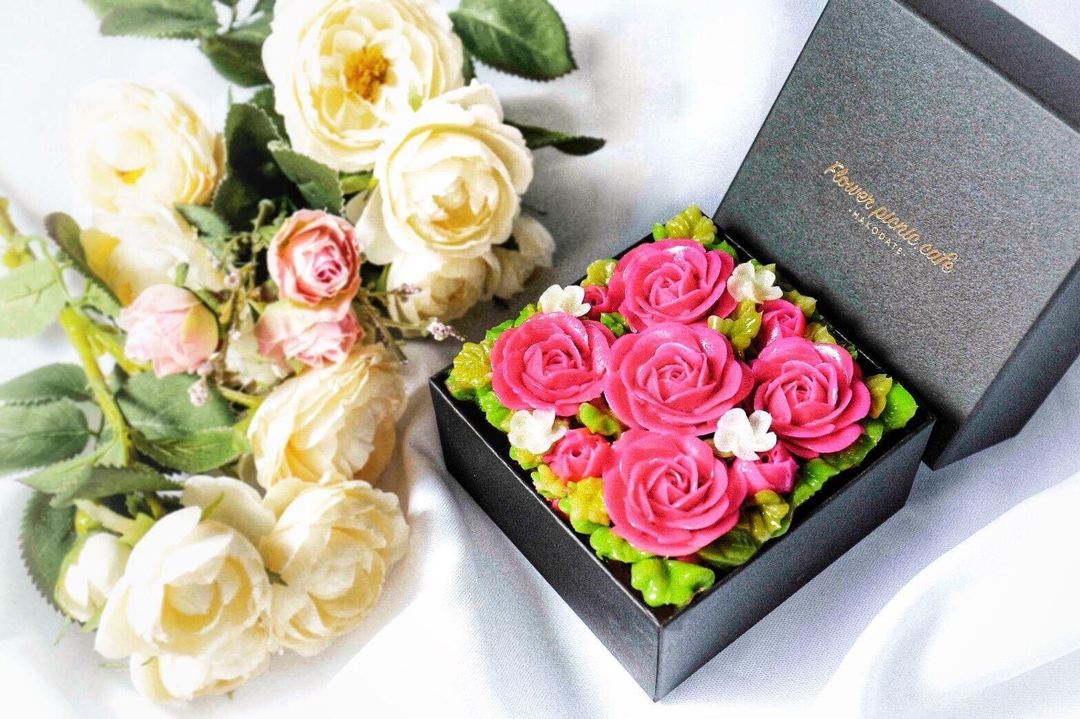 "【Elegant Pink】Anniversary""ミニ""ボックスフラワーケーキ<ミニサイズ>"