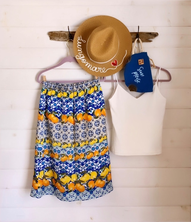 Citron & Orange Silk Skirt