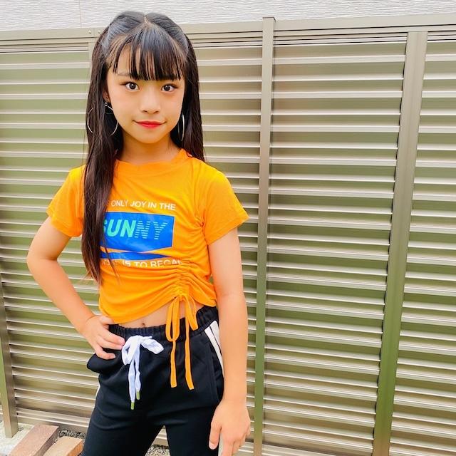 130~170cm 2カラー★ Tシャツ リブ プリント スポカジ ビビットカラー