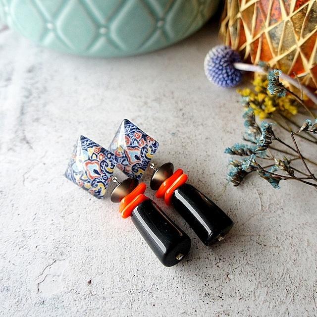 """"""" Earrings NO.0-1860″ オレンジブラックのイタリアビーズ"""