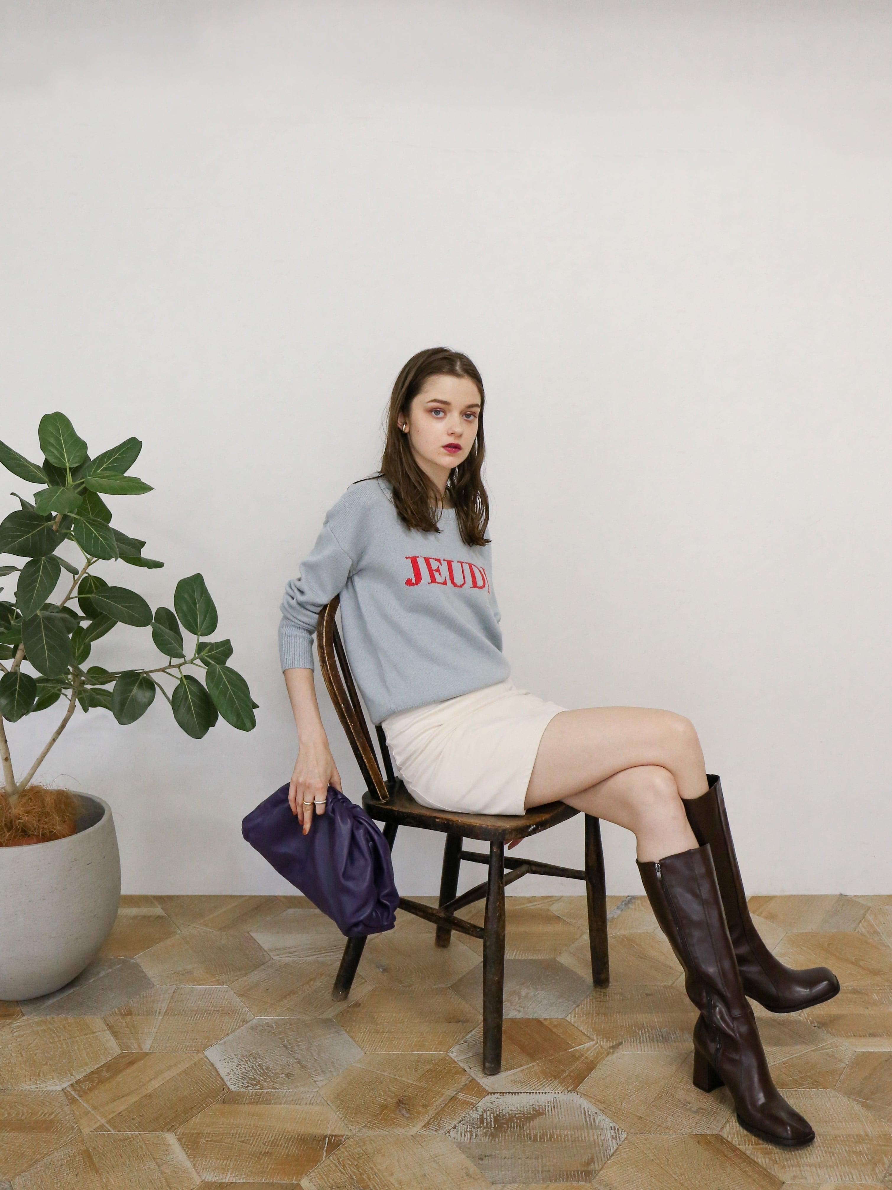 high-waist patchwork suede skirt(ivory)