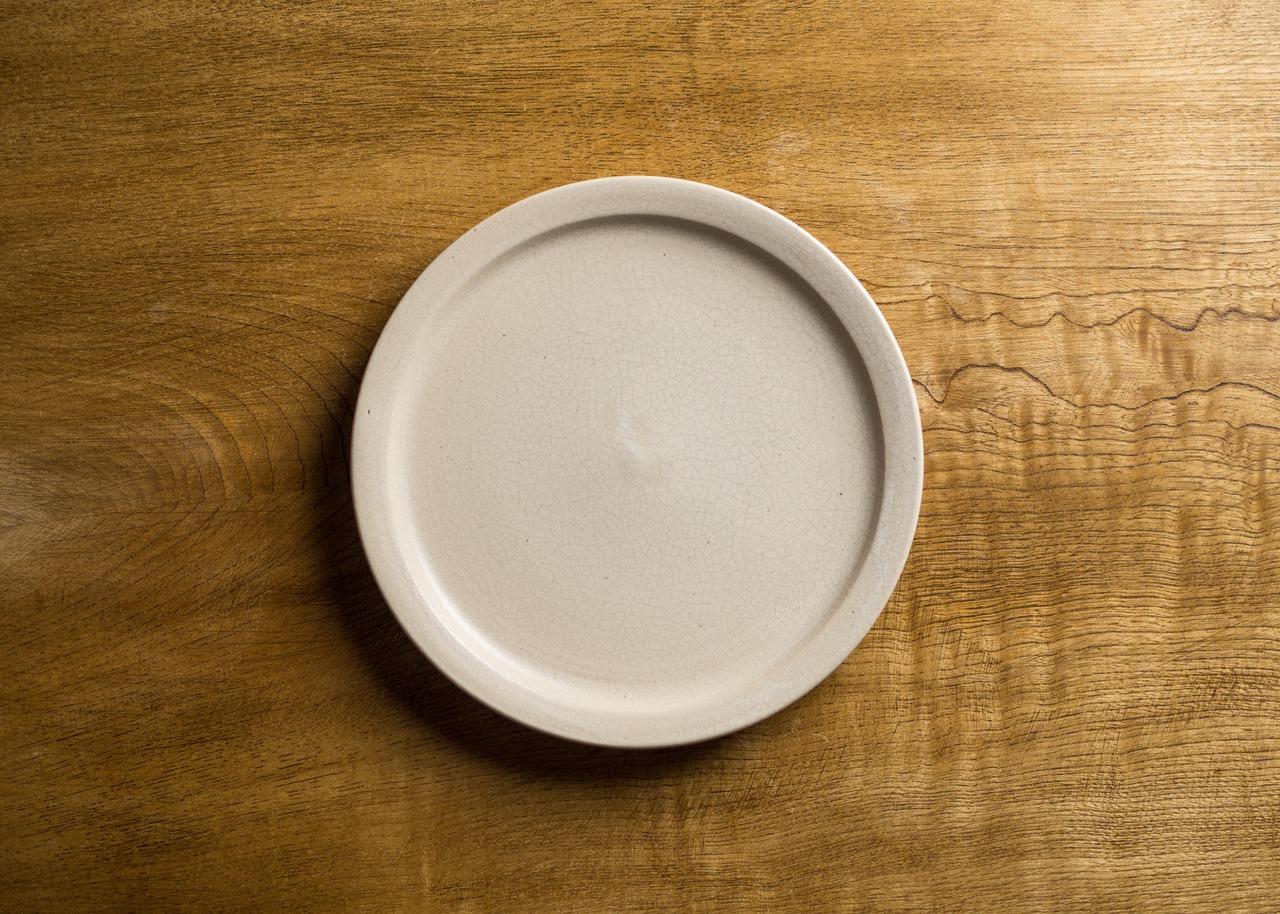 白マット釉 6寸 プレート(中皿・19cm皿)/鈴木美佳子