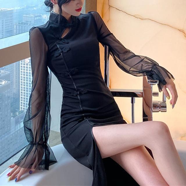 ロング丈チャイナドレス ワンピース 中華服 同窓会 長袖 S M L セクシー ブラック 黒い 切り替え
