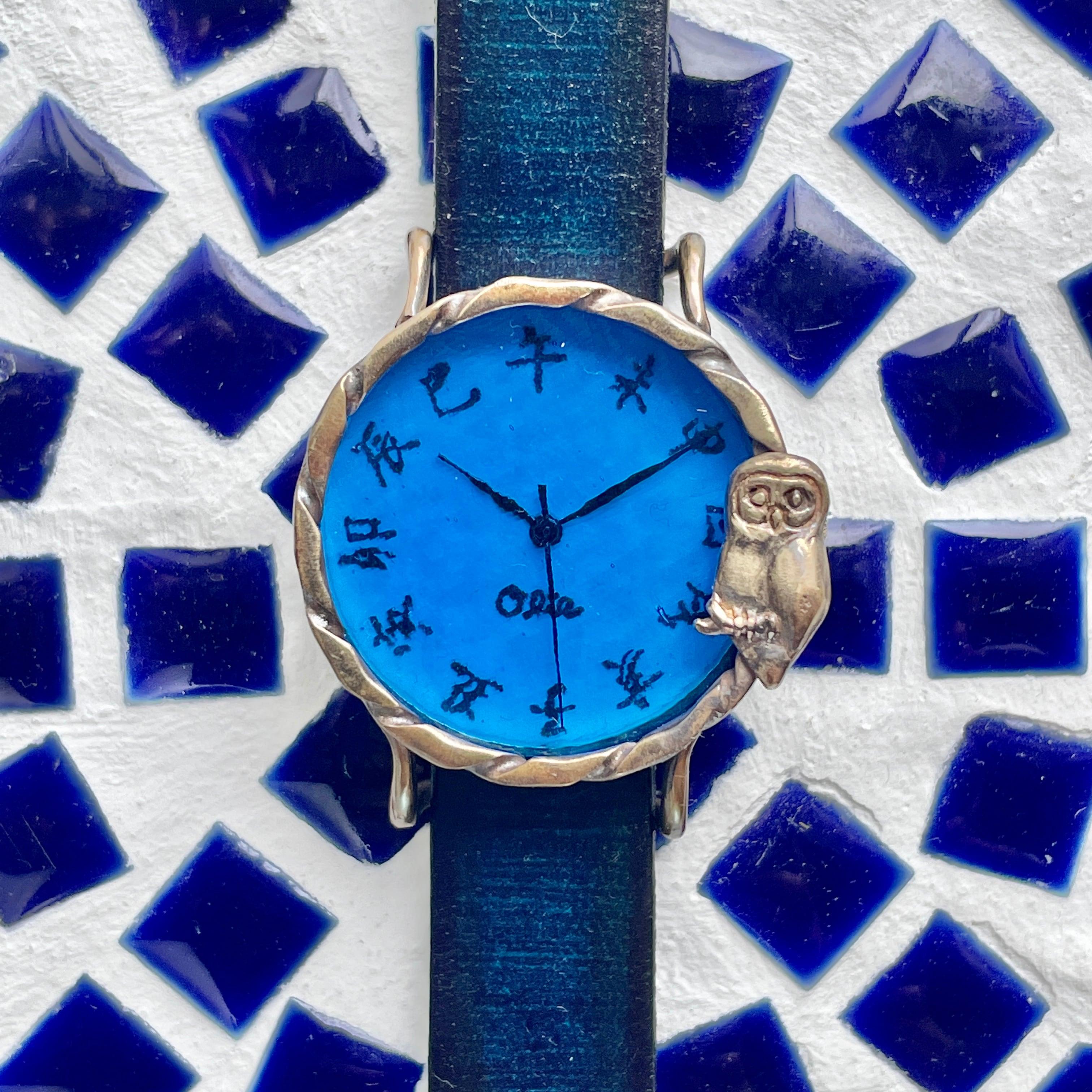 夜のふくろう腕時計M深青江戸