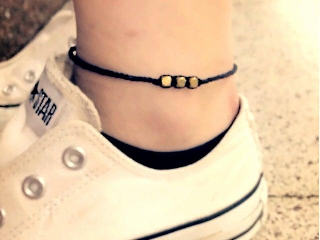 Brass Beads Misanga/Black×Gold (Bracelet/Anklet) [真鍮ビーズミサンガ]